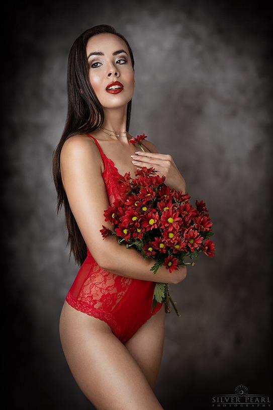 Unterwäsche Fotoshooting Romantisch mit Blumen