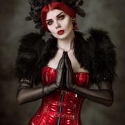 Rot Schwarz Lack Latex Goth Schönheit